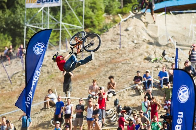 Greg Watts won the first session with a clean double tailwhip backflip