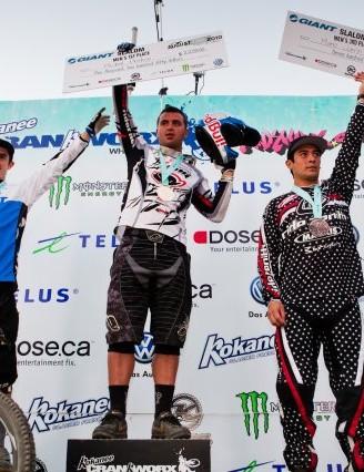 Giant Slalom men's podium (L-R): Danny Hart, Mikal Prokop and Mario Jarrin
