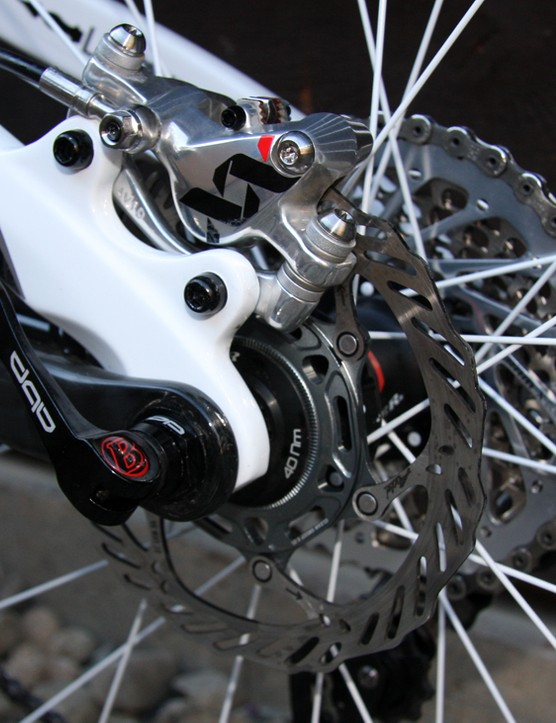 140mm rear rotor adjacent to SRAM XX 12x36 cassette