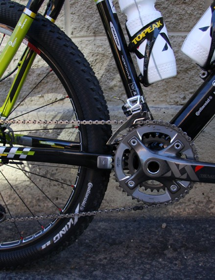 New for 2010, Wiens is on a SRAM drivetrain