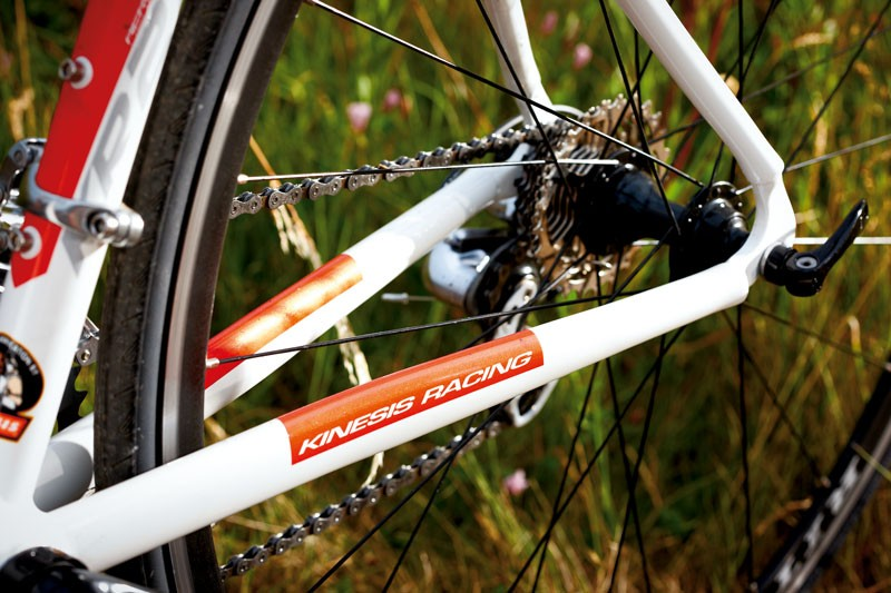 The beautifully curved chainstays have been narrowed to save weight, but are strong enough for small, light riders