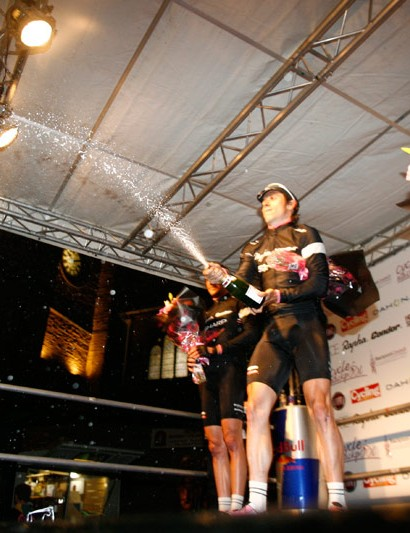 Dean Dowding celebrates on the podium