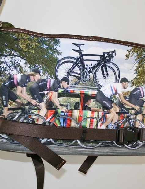 The rear of the bag has the Striped Mini with Rapha Condor Cycle team print too