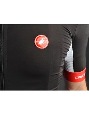 Castelli's Aero Race jersey fits like a skinsuit, notice the aero fabric underarm