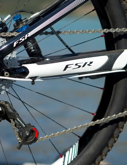 Specialized includes chainstay protectors and a 2 x 10 SRAM X0 drivetrain