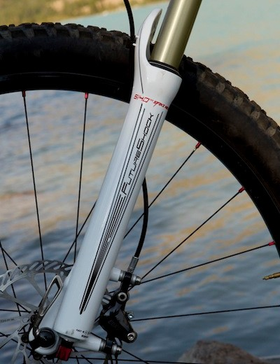 The Specialized Future Shock S140 handles front suspension duties on the Specialized Safire