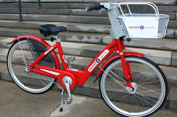 A B-cycle, as used in the Denver bike sharing program