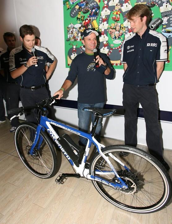 Rubens Barichello receives the bike with pleasure
