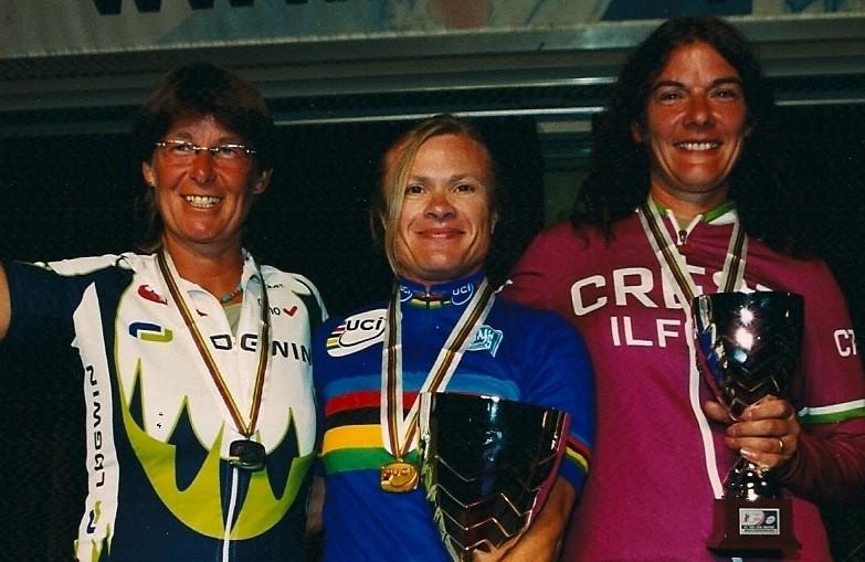 UCI masters women's 45-49 time trial podium: Eva-Marie Neumark (2nd), Beate Eysinger (1st), Sue Fenwick (3rd)