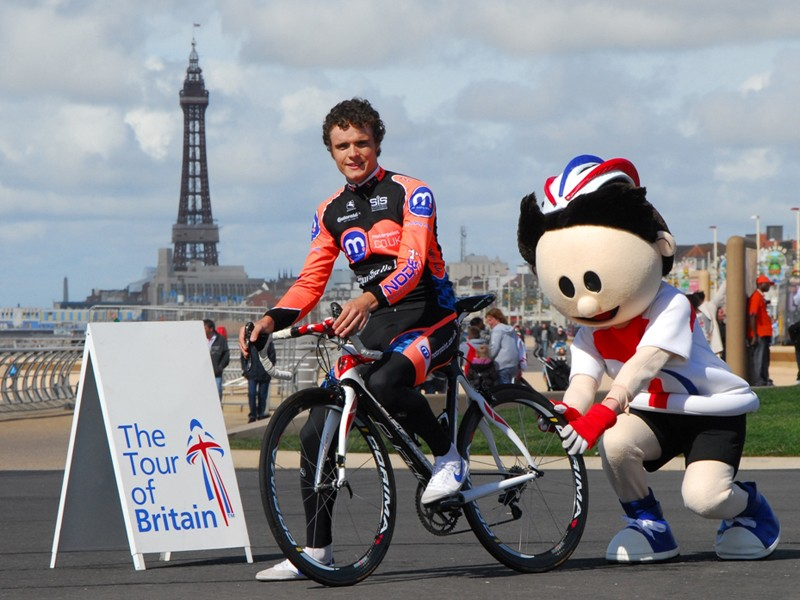 Olympic bronze medallist Steven Burke promotes the Tour of Britain with mascot ToBi
