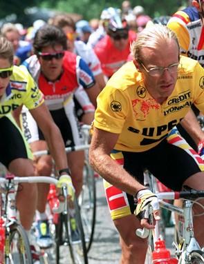 Laurent Fignon leads Greg LeMond in the 1989 Tour de France, which LeMond won