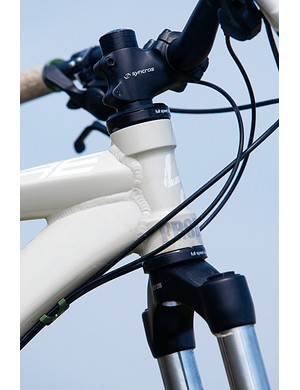 A big stack headset and high-rise bar push the overall front end height up too much