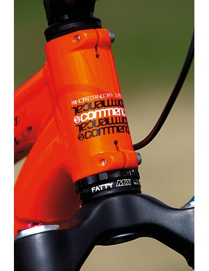 Rotating the sleeve within the head tube will change the angle from 66 to 68 degrees, adding versatility