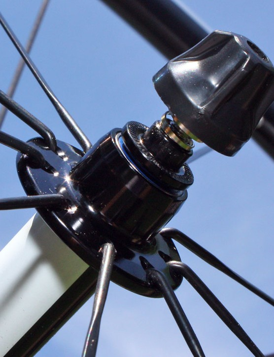 Bearings are placed far outboard on the American Classic Micro 58 front hub for maximum axle support but there are no supplemental seals for the exposed cartridges