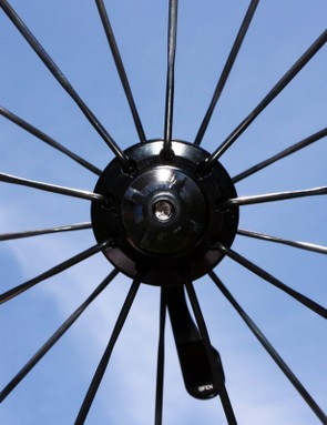 The front wheel is radially laced with just 18 DT Swiss Aerolite bladed stainless steel spokes