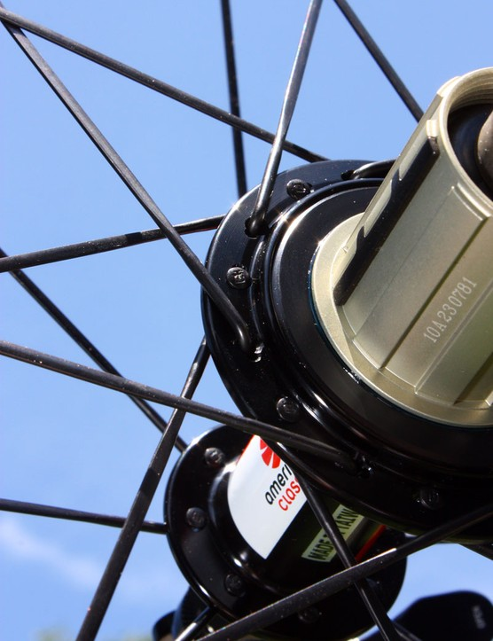 Two-to-one lacing on the rear wheel yields more balanced spoke tensions