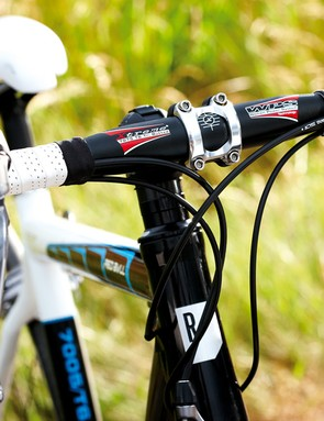 Despite a fairly tall head tube, steep angles and a long top tube kept the overall feel of the Rose racy and nimble