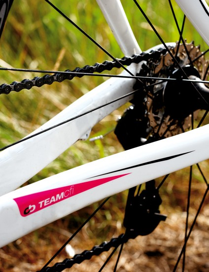 It's great to see a women's bike so clearly designed for racing; square chainstays let you put power down without flex