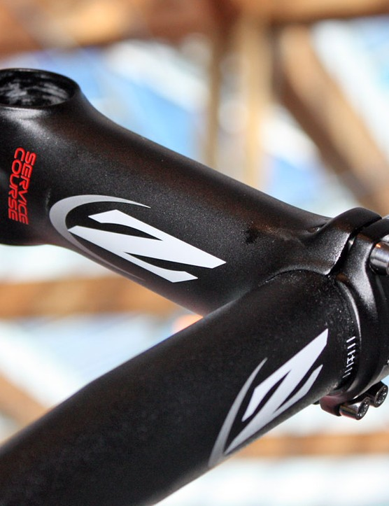 The standard Zipp Service Course forged aluminium stem uses stainless steel hardware while the SL version upgrades to titanium