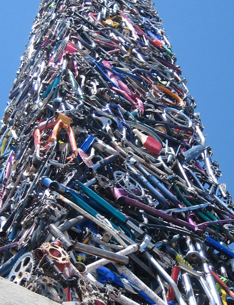 A 65ft obelisk called 'Cyclisk' made out of recycled bicycles has been erected in Santa Rosa, California