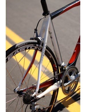 We suspect that the large, oddly shaped seatstays are the main cause of the bike's harsh feeling ride