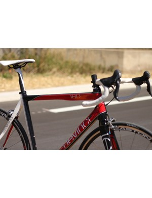 The unique shapes of the top and down tubes may or may not play a part in the bike's admirable steering and descending attributes
