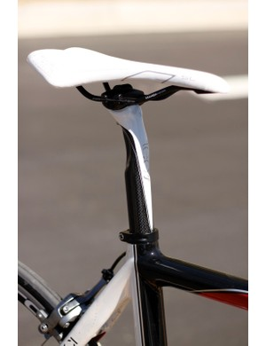 The Leo SL seatpost is the only component we'd recommend replacing; its tilt adjustment is just too coarse to achieve the proper angle