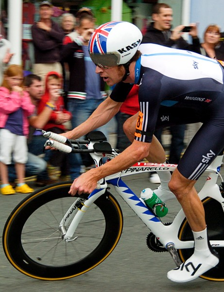 Bradley Wiggins en route to winning his second successive British time trial championship