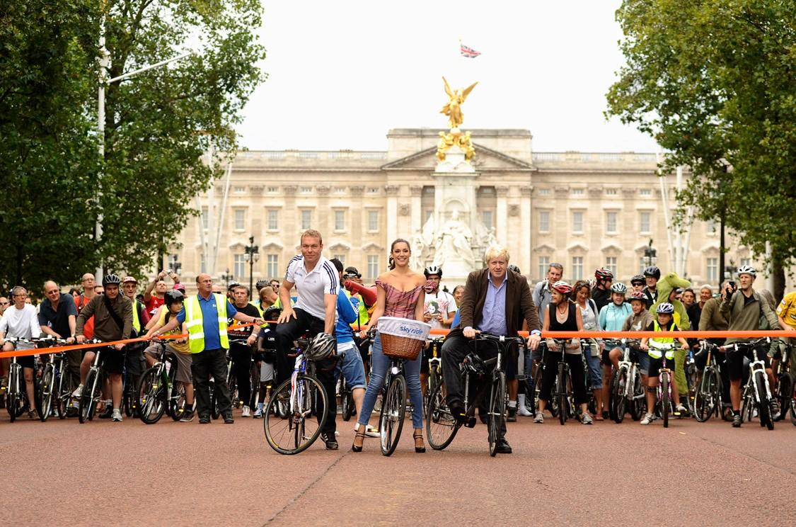 Sir Chris Hoy, Kelly Brook and Boris Johnson launch the Mayor of London's Sky Ride