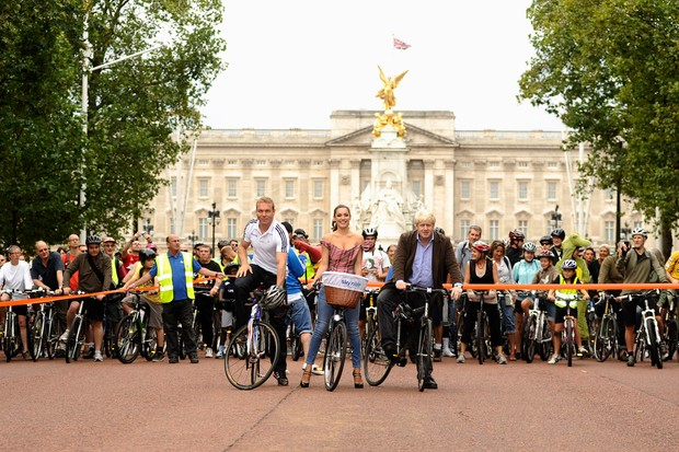 Sir Chris Hoy, Kelly Brook and Boris Johnson launch the Mayor of London's Sky Ride