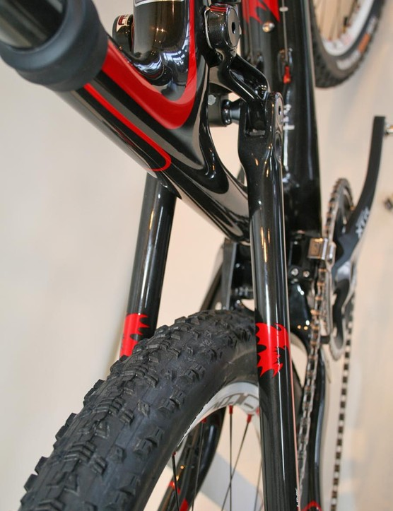 There is no need for a brace on the rear of the Rocky Mountain Element Team - apparently the carbon swingarms are stiff enough. Impressive claims...