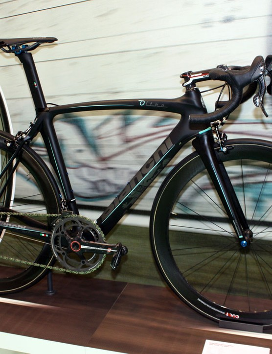 The Bianchi Oltre road flagship is also available in this stealthy matt black
