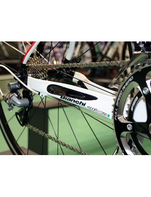 Bianchi claim the chainstay ports in the D2 time trial/triathlon bike lend greater rigidity to the tube by adding surface area