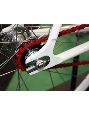 Steel inserts on the Pista dropouts protect the frame from aggressively knurled axle nuts