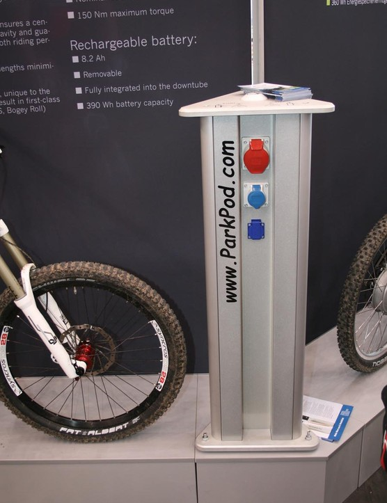 You'll be able to charge your bike via stations like this, where available