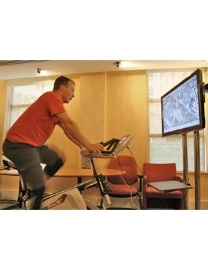 Product tester Justin Loretz tries out the Kettler ErgoRace and World Tours software