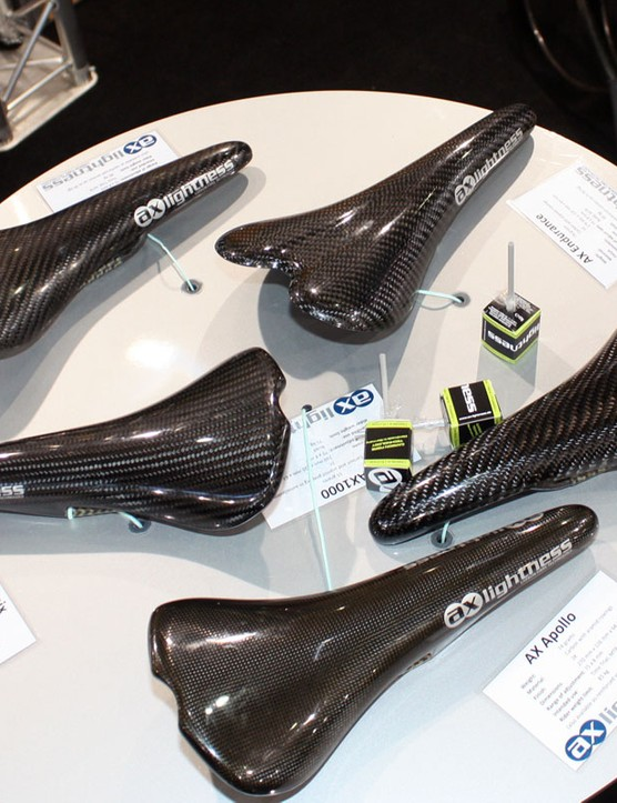Some companies offer just one full-carbon saddle flagship in their ranges – AX-Lightness have five