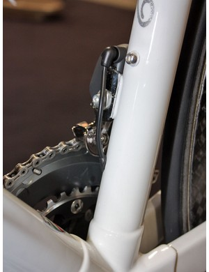The front derailleur wire exits the frame just below the mount