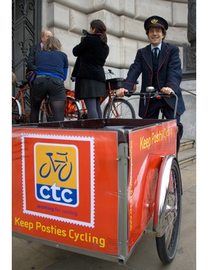 Adam Coffman of CTC with a bike and uniform borrowed from David Higman of the National Cycle Museum