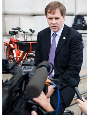 Kevin Mayne, CEO of CTC, talks to the media about the Keep Posties Cycling campaign