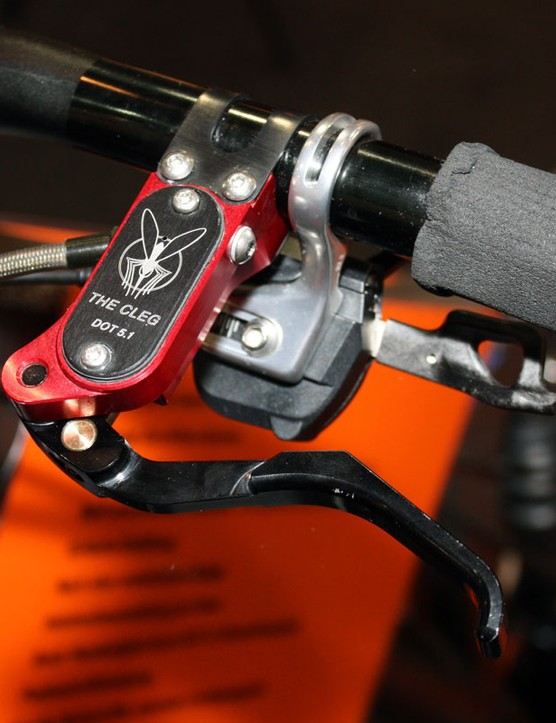 The tidy looking Cleg brake lever uses a radial master cylinder design and a removable band clamp for easier installation and servicing