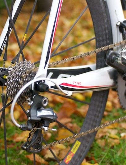 New straighter chainstays lead to a Shimano Dura-Ace rear mech running on an Ultegra cassette