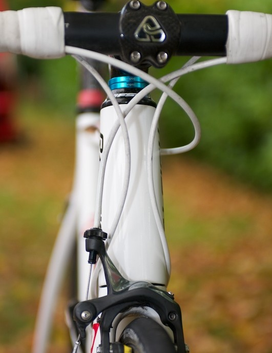 The tapered steerer requires a flared head tube, which flows neatly into the enlarged fork crown