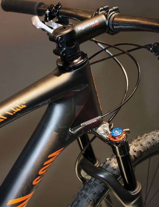 Cables are internally routed on Canyon's Projekt carbon hardtail frame