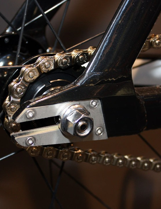 Steel dropout faces on the new V-Drome track bikes protect against frequent wheel removals and installations