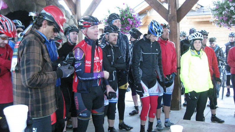 Just prior to the 7am start riders lined up for a safety meeting; Alexi Grewal and Robin Thurston (from left)