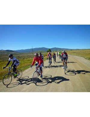 A group amidst the Crooked Roubaix's 60 miles of dirt