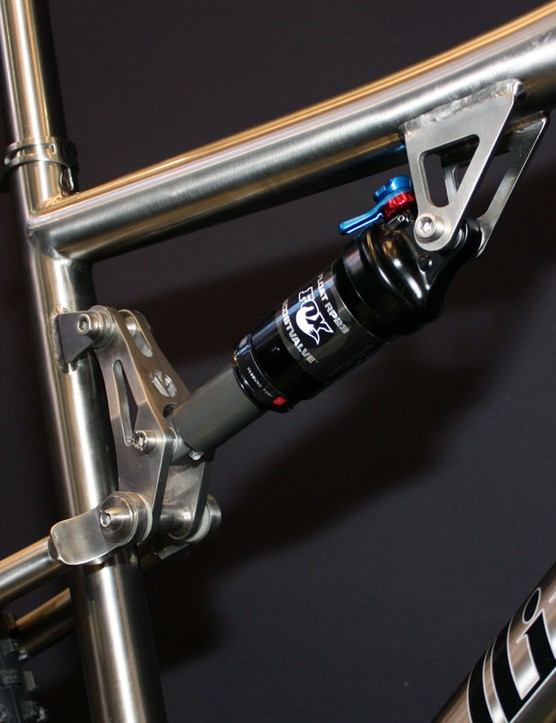 A chunky linkage on the new Valkyr will control the shock rate throughout the stroke