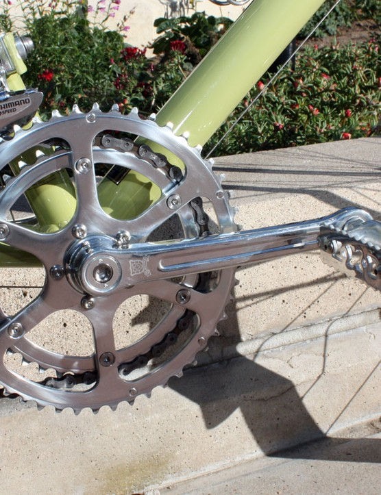 Electra fits the Ticino 18D with a host of stylish house-brand components, such as this polished alloy crank and old-school chainrings.  Hopefully consumers will be able to find replacements a few years down the road