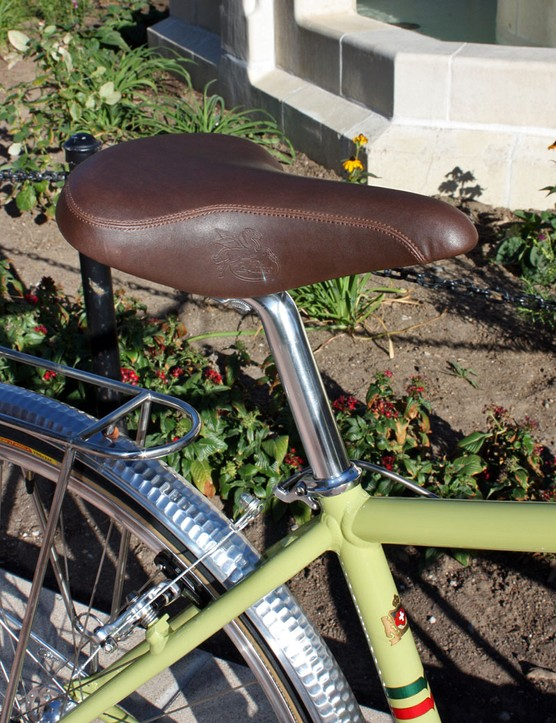 We could just barely set the wide saddle level with the stock seatpost